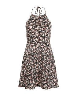Black Ditsy Floral Print Halter Neck Skater Dress  | New Look
