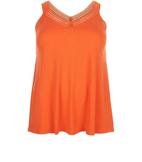 Curves Orange Crochet V Neck Vest | New Look