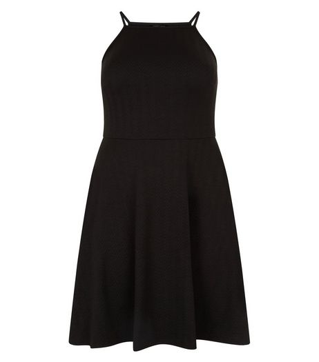 Curves Black Textured Strappy Dress | New Look