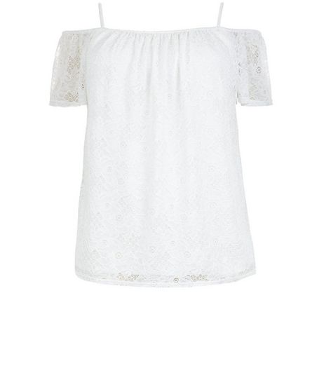 Curves Cream Flounce Lace Cold Shoulder Top  | New Look