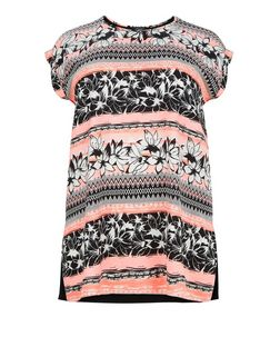 Plus Size Neon Pink Floral Stripe Print Top | New Look