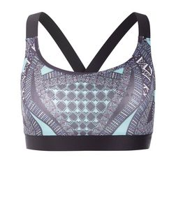 Blue Tribal Print Sports Crop Top  | New Look