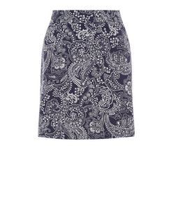 Blue Paisley Jacquard Mini Skirt  | New Look