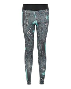 Blue Tribal Print Sports Leggings  | New Look