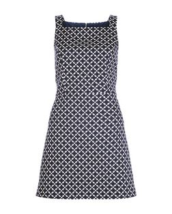 Blue Cross Check Jacquard Pinafore Shift Dress  | New Look