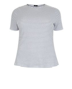 Plus Size Black Stripe Ribbed T-Shirt | New Look