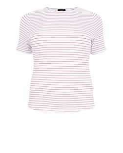 Curves Red Stripe Ribbed T-Shirt | New Look