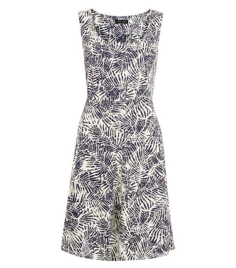 Blue Palm Leaf Print Smock Dress | New Look