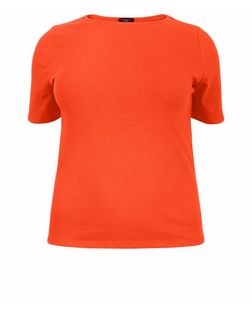 Curves Orange Ribbed 1/2 Sleeve Top | New Look
