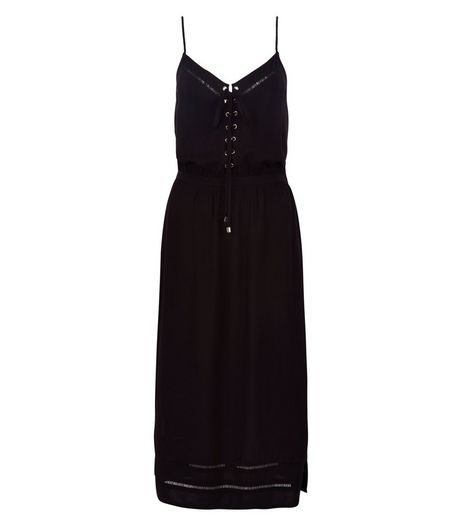Black Eyelet Lace Up Front Midi Dress | New Look