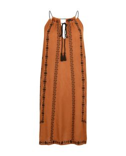 Orange Embroidered Trim Tie Front Slip Dress  | New Look