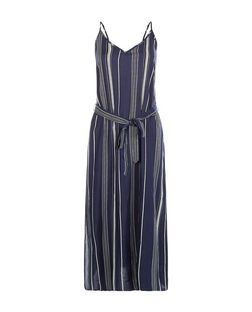 Blue Stripe Tie Waist Strappy Midi Dress  | New Look