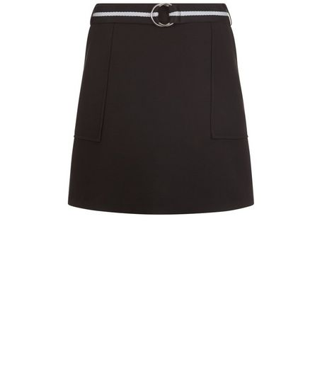 Black Stripe Belted Mini Skirt  | New Look