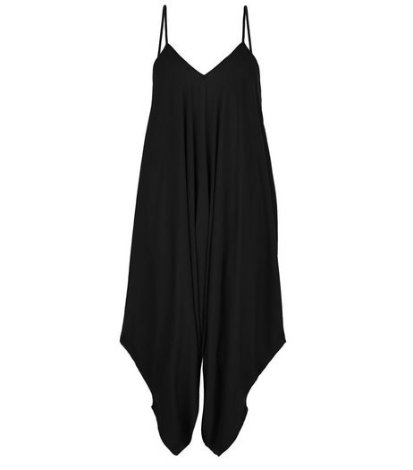 Black Draped Strappy Jumpsuit  | New Look
