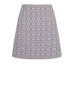 White Tile Print A-Line Skirt  | New Look