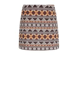 Burgundy Zig Zag Jacquard A-Line Skirt  | New Look