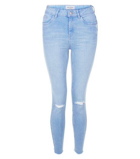 Blue Ripped Knee Fray Hem Skinny Jeans | New Look