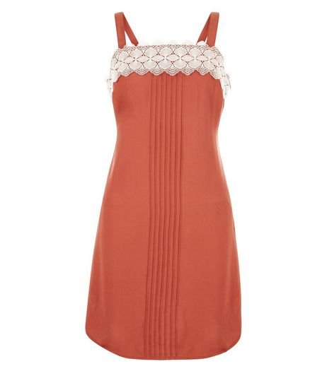 Petite Rust Lace Trim Cami Slip Dress  | New Look