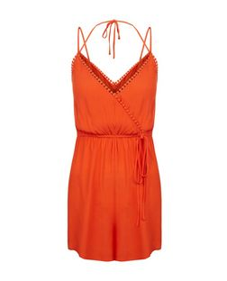 Petite Orange Pom Pom Trim Playsuit | New Look