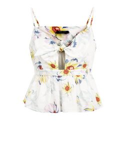Petite White Floral Print Tie Front Crop Top | New Look