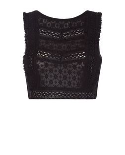 Petite Black Lace Mesh Fray Hem Crop Top  | New Look