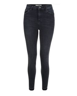 Black Washed Drop Hem Skinny Jeans  | New Look