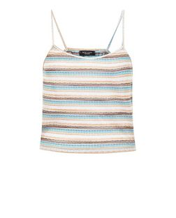 Petite Multicoloured Stripe Crop Cami  | New Look