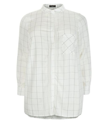 Curves White Grid Check Shirt | New Look