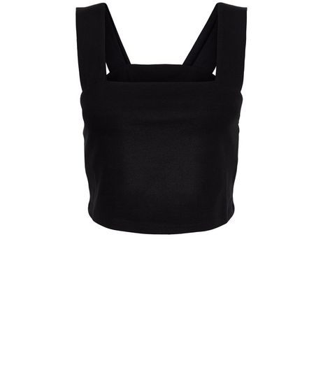 Petite Black Pinafore Crop Top | New Look