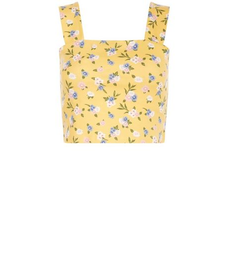 Petite Yellow Floral Print Crop Top | New Look