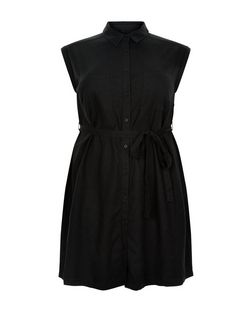 Curves Black Linen Mix Belted Shirt Dress | New Look