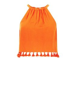 Petite Orange Pom Pom Trim Crop Cami  | New Look