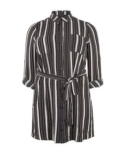 Plus Size Black Stripe Shirt Dress | New Look