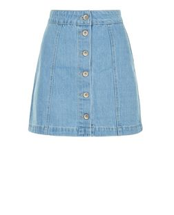 Petite Blue Button Front Bleach Wash Denim Skirt | New Look
