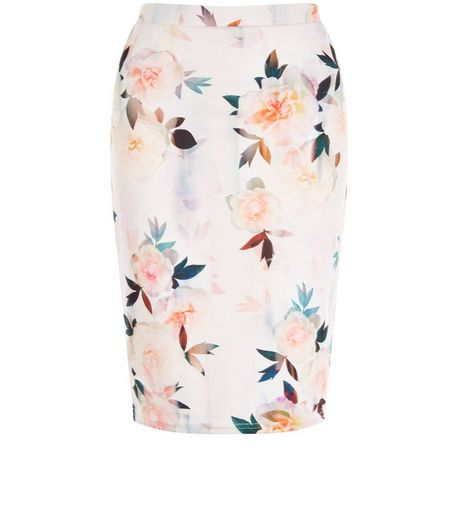 Petite White Floral Print Pencil Skirt | New Look