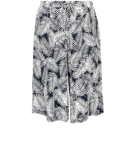 Curves Blue Palm Leaf Print Culottes | New Look