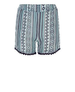 Girls Blue Aztec Print Crochet Trim Shorts | New Look