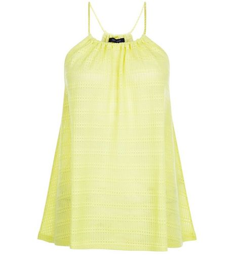 Lime Fine Knit Stripe Rope Strap Cami  | New Look