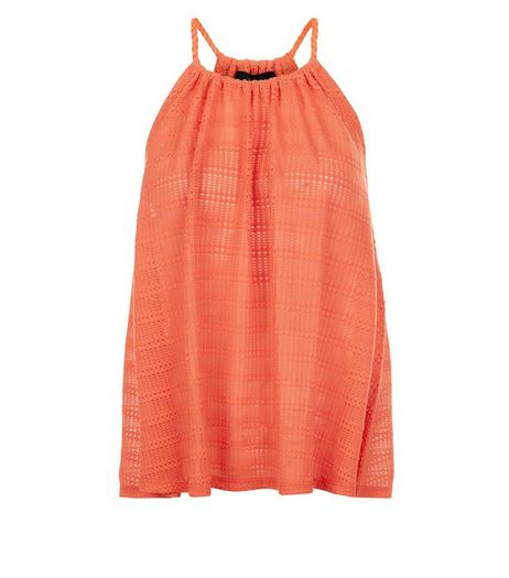 Bright Orange Fine Knit Stripe Rope Strap Cami  | New Look