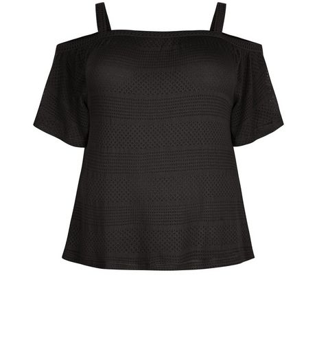 Curves Black Ladder Trim Cold Shoulder Top | New Look