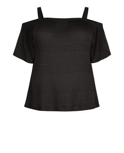 Plus Size Black Ladder Trim Cold Shoulder Top | New Look