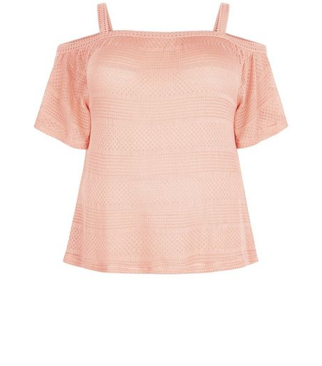 Curves Mid Pink Ladder Trim Cold Shoulder Top  | New Look