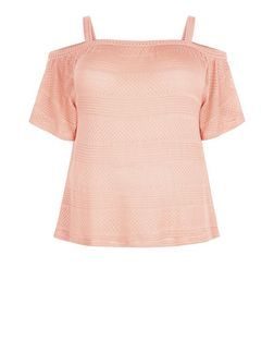 Plus Size Mid Pink Ladder Trim Cold Shoulder Top  | New Look