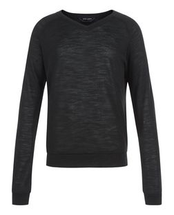 Teens Black Fine Knit V Neck Jumper | New Look