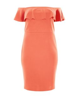 Curves Orange Frill Bardot Neck Dress | New Look