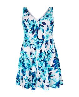 Curves White Floral Print Skater Dress | New Look