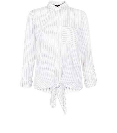 Tall White Pinstripe Tie Front Shirt | New Look