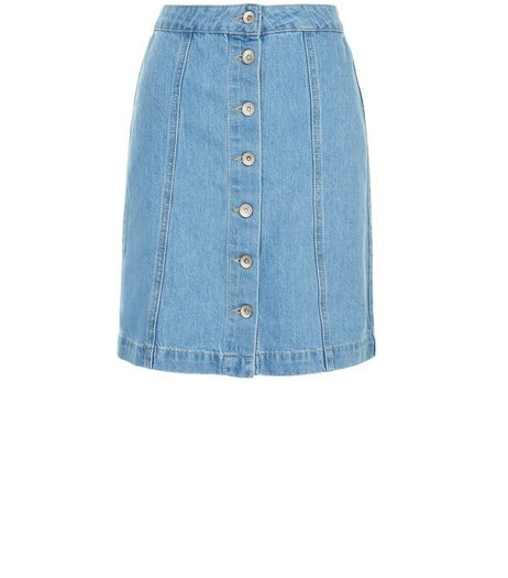Tall Blue Bleached Button Front Denim Skirt  | New Look