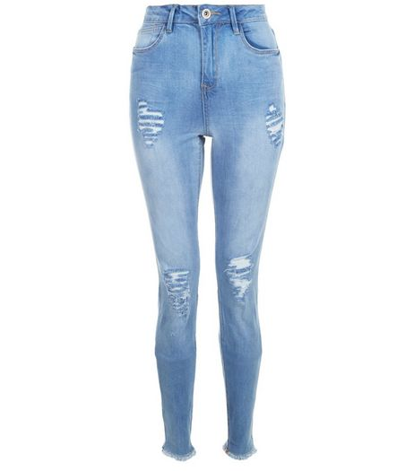 Tall 36in Blue Ripped Raw Hem Skinny Jeans | New Look
