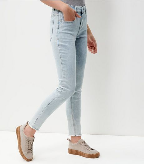 Tall Pale Blue Fray Hem Skinny Jeans  | New Look